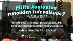 Aura Nurmi, Elsa Tölli, Juho Kuusi & lavarunous