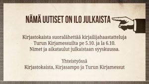 Suoralähetyksiä Turun Kirjamessuilta 2018