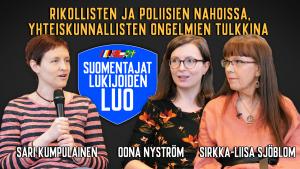 Kolme naista istuu ja keskustelee. Suomentajat lukijoiden luo -sarja.