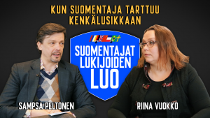 Mies ja nainen istuvat keskustelemassa. Suomentajat lukijoidenluo -sarja.